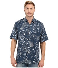 Tommy Bahama Fair Weather Fronds Woven Shirt Waterfront Men's Short Sleeve Button Up Black