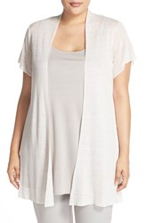 Plus Size Women's Eileen Fisher Hemp Blend Short Sleeve Open Front Cardigan Opal