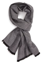 Calibrate Men's Houndstooth Silk Blend Scarf Grey