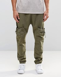 Asos Drop Crotch Joggers In Linen With Cargo Pockets In Khaki Burnt Olive Green