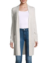 Saks Fifth Avenue Textured Cashmere Open Front Duster Jacket Navy Pearl