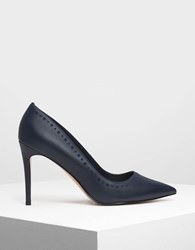 Charles And Keith Brogue Trimming Pointed Pumps Dk.Blue