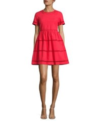 Red Valentino Lace Inset Cotton A Line Dress Geranio