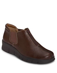 Aerosoles Synthetic Leather Sport Wedge Booties Brown