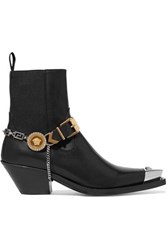 Versace Embellished Leather Ankle Boots Black
