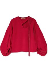 Hellessy Sloane Cutout Satin Twill Blouse Red