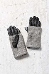 Urban Outfitters Fuzzy Knit Leather Glove Light Grey
