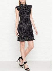 Karen Millen Polka Dot Print Ruffle Dress Black White Black White