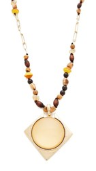 Alexis Bittar Removable Geometric Pendant Necklace Polished Gold