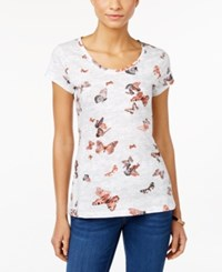 Styleandco. Style And Co. Butterfly Print T Shirt Only At Macy's White Comb