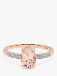 A B Davis 9Ct Rose Gold Oval Morganite And Diamond Engagement Ring