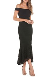 Kay Unger Crepe And Lace Off The Shoulder Dress Black