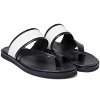 Want Les Essentiels Mateos Two Tone Leather Sandals Midnight Blue