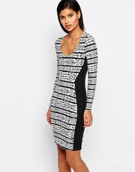 French Connection Jersey Panel Bodycon Dress Black White