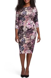 Eci Plus Size Women's Floral Print Bateau Neck Sheath Dress Rose