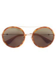 Gucci Eyewear Round Frame Metal Sunglasses Yellow Orange