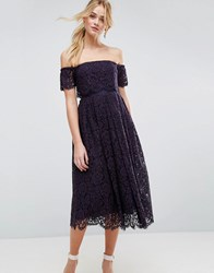 Asos Off The Shoulder Lace Prom Midi Dress Navy Blue