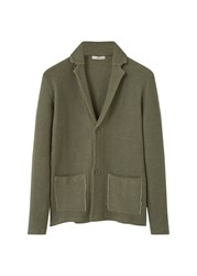 Mango Lapel Cotton Cardigan Green