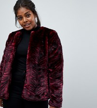 Junarose Tiger Stripe Faux Fur Coat Red Tiger
