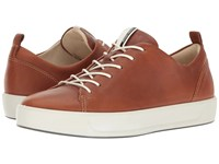 Ecco Soft 8 Sneaker Lion Cow Leather Women's Lace Up Casual Shoes Brown