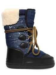 Dsquared Denim And Faux Shearling Snow Boots