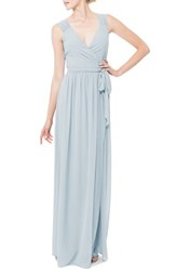 Ceremony By Joanna August Women's 'Newbury' Gathered Sleeve Chiffon Wrap Gown Into The Mystic