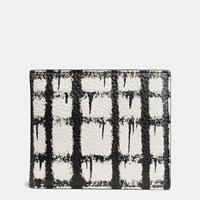 Coach 3 In 1 Wallet In Wild Plaid Print Leather Wild Plaid Soft White Black