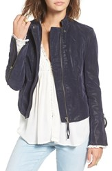 Free People Women's Faux Leather Jacket Navy