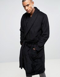 Asos Fleece Shawl Neck Dressing Gown Black