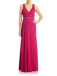 Pamella Roland Beaded Crepe Cowl Back Gown Raspberry