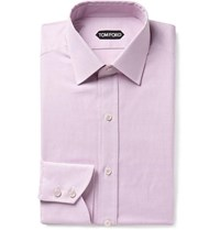 Tom Ford Pink Slim Fit Micro Gingham Cotton Shirt Pink