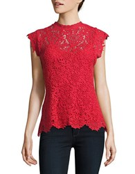 Velvet By Graham And Spencer Cap Sleeved Scalloped Lace Top Red