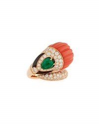 G. Verdi And C. Carved Floral Onyx Emerald Bypass Ring With Diamonds
