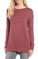 Caslon Button Back Tunic Sweater Burgundy Rouge