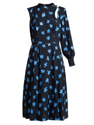Toga Floral Print One Sleeved Midi Dress Navy