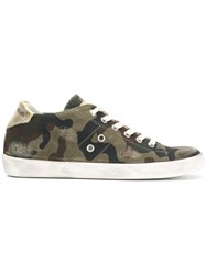 Leather Crown Camouflage Print Sneakers Green