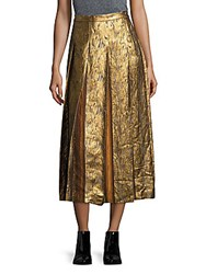 Dries Van Noten Pleated Linen Blend Skirt Gold