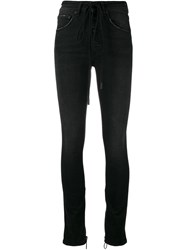 Off White High Waisted Skinny Jeans Women Cotton Spandex Elastane 30 Black