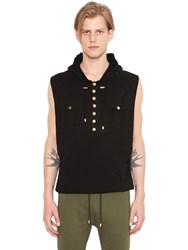 Balmain Sleeveless Hooded Cotton T Shirt