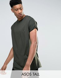 Asos Tall T Shirt With Roll Sleeve In Green Army Green