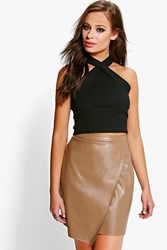 Boohoo Leather Look Wrap Front Mini Skirt Taupe