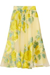 Lela Rose Floral Fil Coupe Organza Midi Skirt Bright Yellow