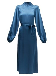 Rochas Pintucked Silk Satin Midi Dress Blue
