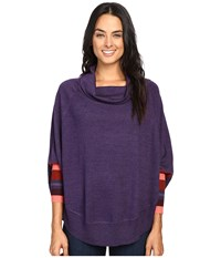 Smartwool Nokoni Striped Poncho Mountain Purple Heather Women's Sweater Metallic