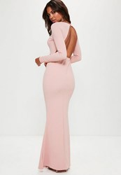 Missguided Pink Long Sleeve Open Back Maxi Dress