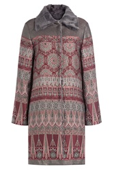Alberta Ferretti Jacquard Coat With Shearling Collar Multicolor