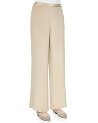 Go Silk Wide Leg Silk Crepe Pants