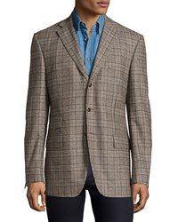 Luciano Barbera Plaid Wool Three Button Jacket Gray Brown
