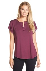 Petite Women's Pleione Split Neck High Low Tee