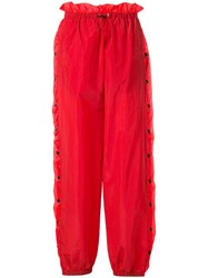 Unravel Project Snap Button Track Trousers Red